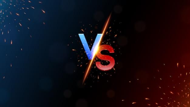 Versus banner z ogniem musującym vector