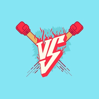 Versus fight emblem with fire