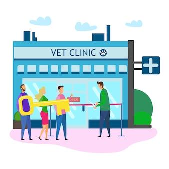 Veterinarian clinic grand open ceremony ribbon cut