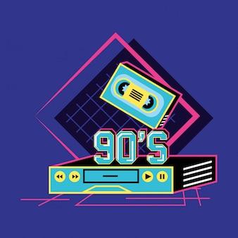Vhs i kaseta z lat dziewięćdziesiątych retro