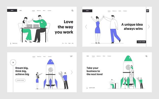 Victory, startup launch website landing page set