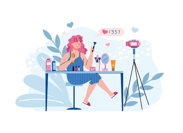 Videoobloger młoda kobieta kręci treści na blog o modzie makijażu
