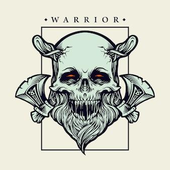 Viking skull warrior z ilustracjami topora