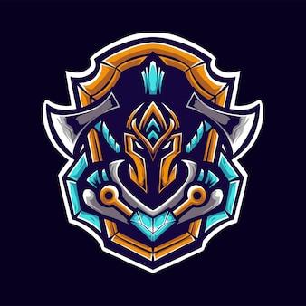 Viking z toporem logo maskotka illustrator