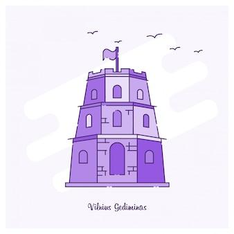 Vilnius gediminas landmark purple dotted line skyline