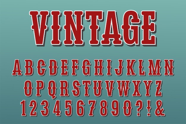 Vintage 3d litery, cyfry i symbole.