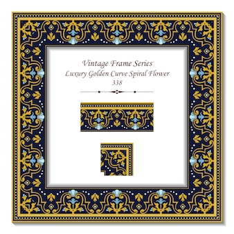 Vintage 3d rama luksusowych kwiatów spirali golden curve