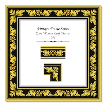 Vintage 3d rama złotej spirali okrągły liść kwiat