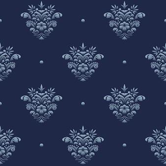 Vintage adamaszek luksusowy wzór niebieski projekt na tle karty