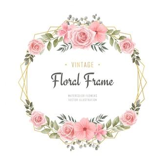 Vintage akwarela kwiatowy kwiaty ramki zaręczynowe