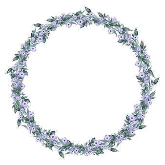 Vintage akwarela mały fioletowy kwiat i zielone liście wieniec ramki
