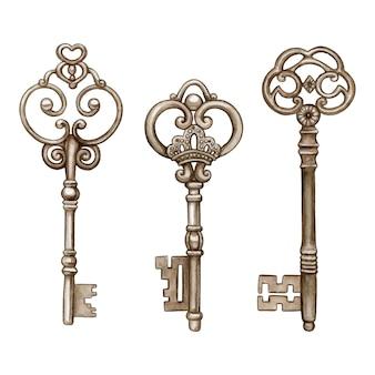 Vintage akwarela wiktoriański klucze do szkieletu