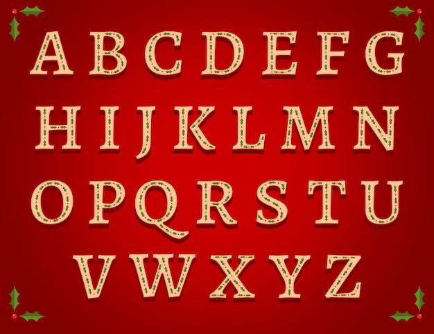 Vintage alfabet boże narodzenie