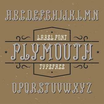 Vintage alfabet i krój pisma o nazwie plymouth.