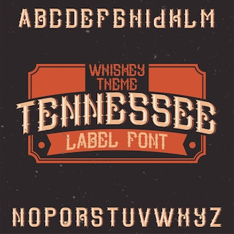 Vintage alfabet i krój pisma o nazwie tennessee.