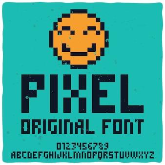 Vintage alfabet o nazwie pixel.