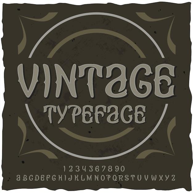 Vintage alfabet z ozdobnym tekstem typekit i literami z cyframi i kształtami kół