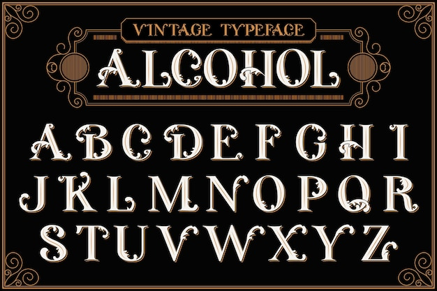 Vintage alfabet ze składem tekstu