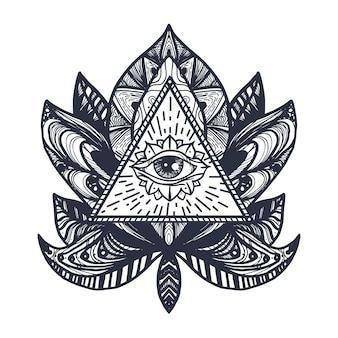 Vintage all seeing eye w mandala lotus. magiczny symbol opatrzności