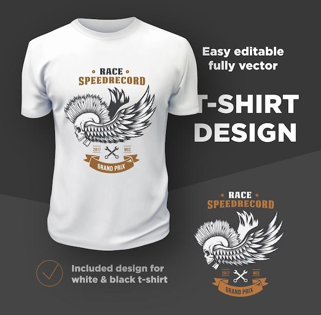 Vintage amerykański klub motocyklistów wektor wydruku na białym tle na białej koszulce.