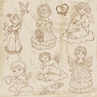 Vintage anioły, lalki, niemowlęta