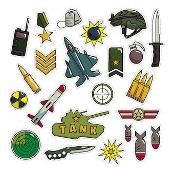 Vintage army look fashion patch cartoon ilustracja
