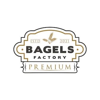 Vintage bagels logo pieczątka piekarnia