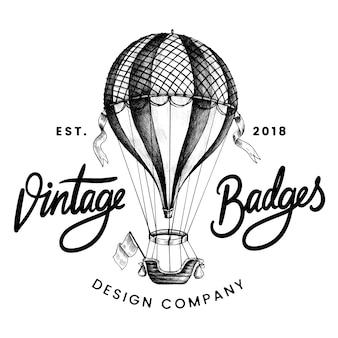 Vintage balon logo projekt wektor