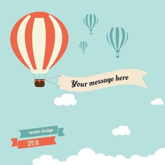 Vintage balonem z wstążką do wiadomości