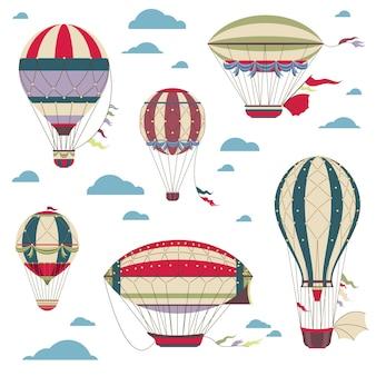 Vintage balony na ogrzane powietrze ustawione na niebie