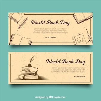 Vintage banery na dzień książki świata