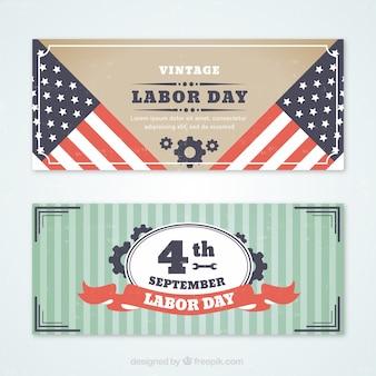 Vintage banery na dzień pracy