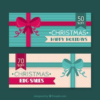 Vintage banery z łuków christmas