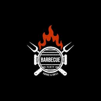 Vintage barbeque party smoke & grill logo design premium wektor