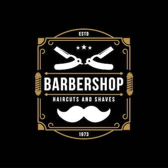Vintage barber shop logo retro herby