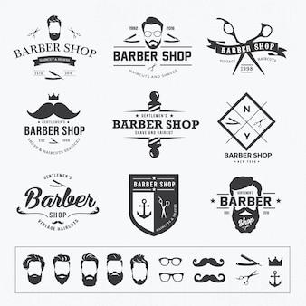 Vintage barber sklep logo i elementy wektorowe