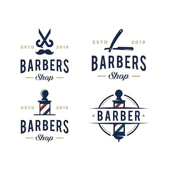 Vintage barbershop wektor logo szablon projektu