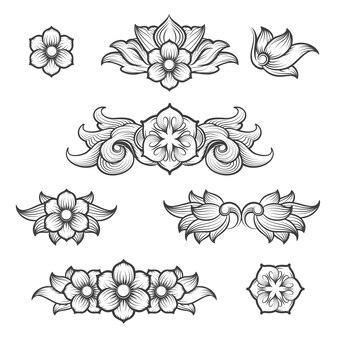 Vintage barokowe grawerowanie elementów kwiatowych