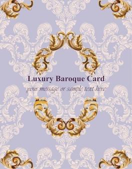 Vintage barokowy karta tło wektorowe ilustracje złota i lawendy kolory bogaty styl