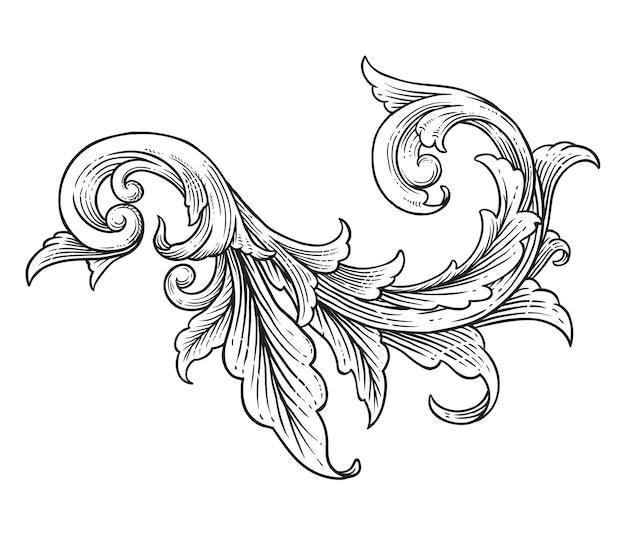 Vintage barokowy wiktoriański kwiatowy ornament ozdobny