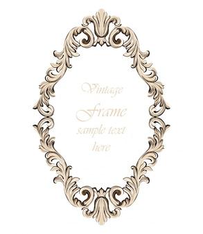 Vintage barokowy wystrój ramy. szczegółowa ilustracja wektorowa ornament