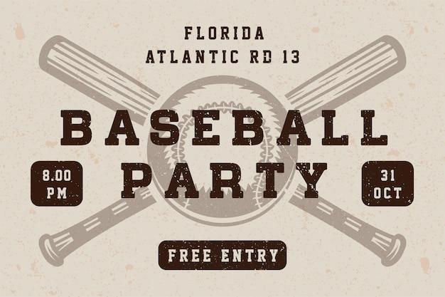 Vintage baseball party plakat, szablon, baner w stylu retro. grafika. ilustracja wektorowa.