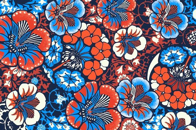 Vintage batik kwiatowy wzór