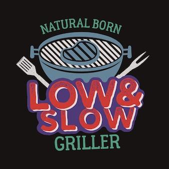 Vintage bbq grafika grilla na t-shirt, inne nadruki. retro typografia koszulka z grillem, emblemat dla każdego, kto kocha letnie grillowanie z przyjaciółmi i rodziną. prezent na dzień ojca. wektor pień.