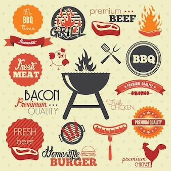 Vintage bbq grill etykiety
