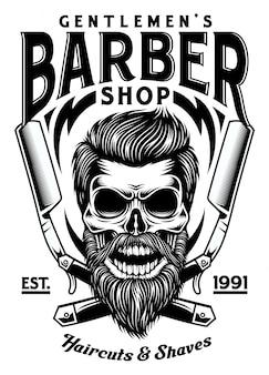 Vintage bearded barber skull z skrzyżowanymi żyletkami