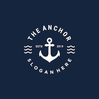 Vintage bedge anchor wektor logo szablon projektu