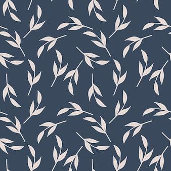 Vintage bezszwowe doodle wzór z losowymi białymi liśćmi scandi drukuje gałęzie
