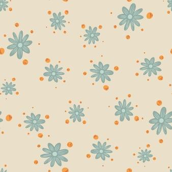 Vintage bezszwowe natura wzór z niebieskim nadrukiem losowych kwiatów. pastelowe jasne tło. tło kwitną. płaski nadruk wektorowy na tekstylia, tkaniny, opakowania na prezenty, tapety. niekończąca się ilustracja.