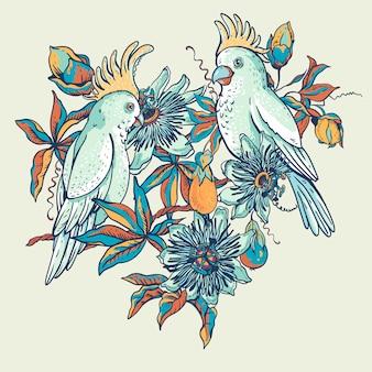 Vintage biała papuga, niebieska naturalna kolekcja kwiatów.